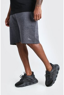 Charcoal grå Big & Tall - Man Script Shorts i jersey