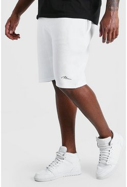 White vit Big & Tall - Man Script Shorts i jersey