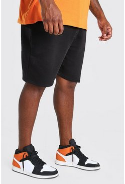 Black Plus Size Basic Mid Length Jersey Short