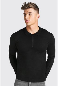 Black Long Sleeve Knitted Zip Collar Polo