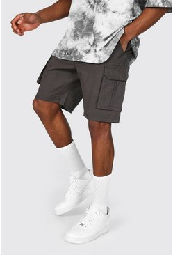 Charcoal grey Fixed Waist Band Cargo Short