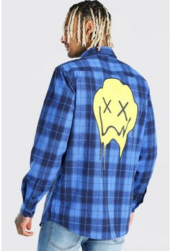 Blue Long Sleeve Check Shirt With Graphic Back Print