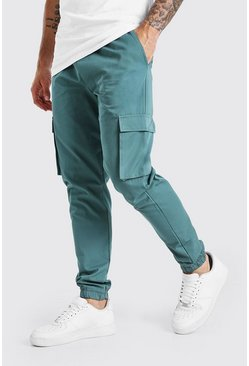Teal green Utility Pocket Cargo Jogger Pants