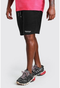Black Plus Size MAN Official Print Waistband Short