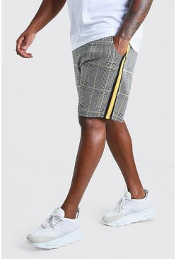 Grey Plus Size Check Taped Mid Length Short