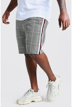 Grey Plus Size Jacquard Tape Mid Length Short