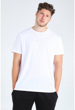 big and tall t-shirt long basique, Blanc