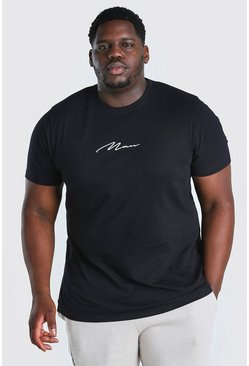 Black Big And Tall MAN Script Longline T-Shirt