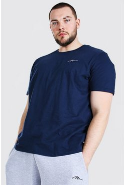 Camiseta larga con inscripción MAN Big And Tall, Azul marino