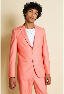 Coral pink Skinny Plain Suit Jacket