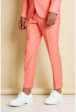 Pantalon de costume uni coupe super skinny, Corail rose
