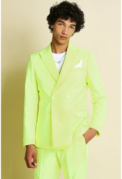Neon-yellow yellow  Skinny Neon Double Breasted Suit Jacket