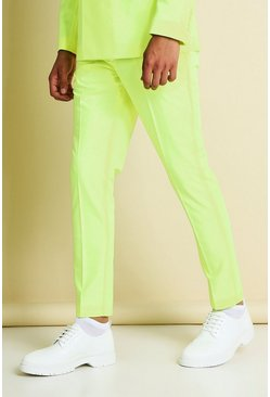Neon-yellow yellow Skinny Neon Cropped Suit Trousers