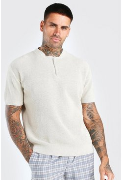 Stone beige Short Sleeve Textured Half Zip Knit T-Shirt