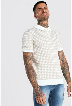 Short Sleeve Dogtooth Knitted Polo, Stone Бежевый