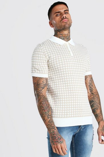 Stone beige Short Sleeve Dogtooth Knitted Polo