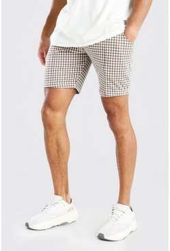 Brown Dogtooth Pintuck Mid Length Short