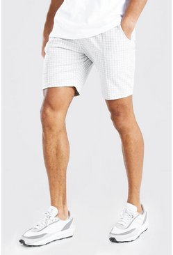 Light grey grey Dogtooth Pintuck Mid Length Short