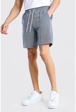 Navy Herringbone Pintuck Mid Length Short