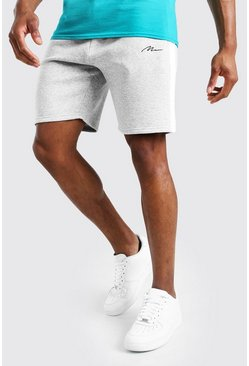 Grey marl MAN Signature Mid Length Jersey Panel Short