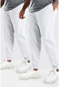 Grey Big And Tall 2 Pack Skinny Fit Jogger