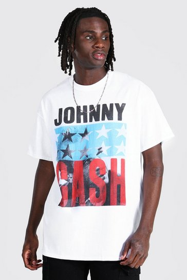 White Oversized Johnny Cash License T-shirt