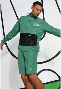 Green Tall Ripstop Tracktop With Reflective Piping