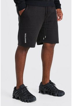 Black Plus Size MAN Official Embroidered Short