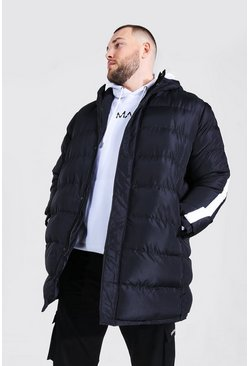Black Plus Size Longline Puffer With Arm Stripe