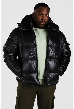 Black Plus Size High Shine Hooded Puffer Jacket