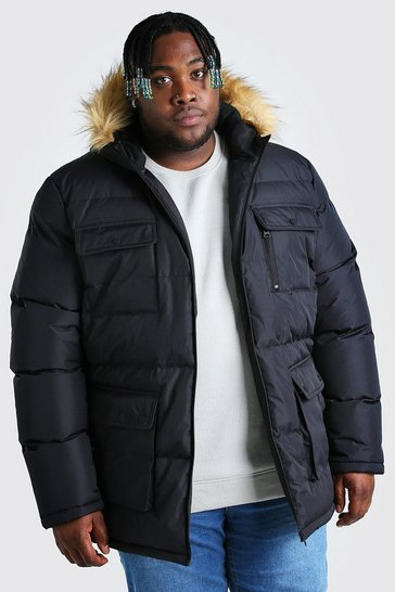Black Plus Size Multi Pocket Quilted Parka