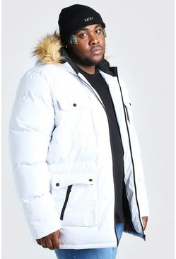 White Plus Size Multi Pocket Quilted Parka