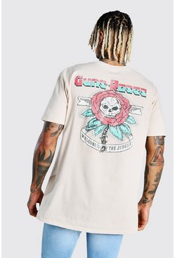Stone beige Oversized Guns & Roses Back License Print T-Shirt