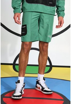 Green Tall Ribfluwelen Shorts Met Reflecterende Biezen