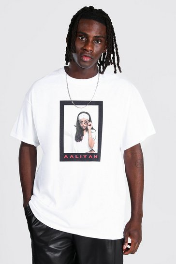 White Oversized Aaliyah Polaroid License T-shirt