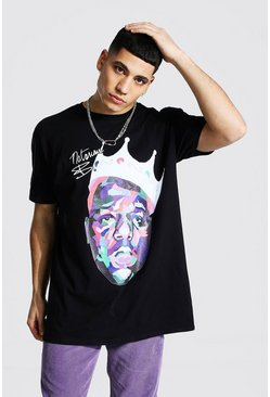 Black Oversized Biggie Crown Print License T-shirt