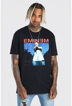 Black Oversized Eminem License Print T-Shirt