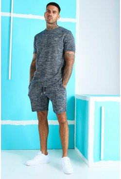 Black Jacquard T-Shirt Short Set With MAN Embroidery
