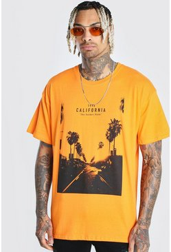 Orange Oversized California Photo Print T-Shirt