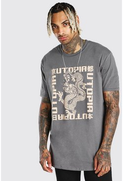 Charcoal grey Oversized Utopia Dragon Print T-Shirt
