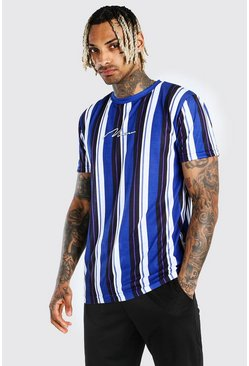 Blue MAN Signature Vertical Stripe Print T-Shirt