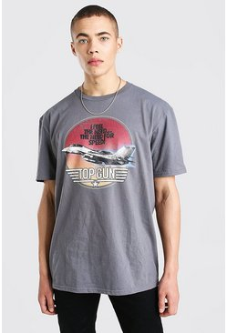 Charcoal grey Oversized Topgun License T-Shirt