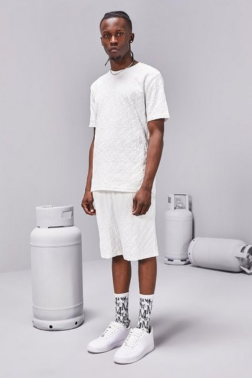 Ecru white MAN Repeat Velour Tee And Short Set