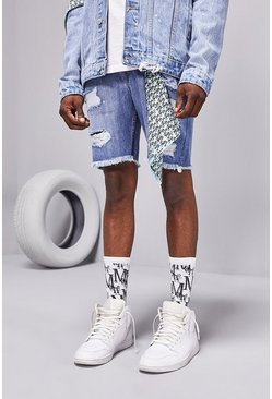 Ice blue Loose Rip And Repair MAN Bandana Denim Shorts
