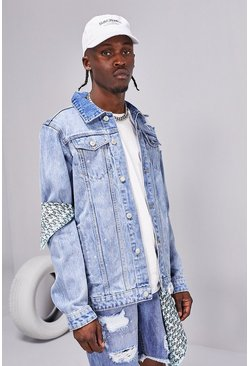 Ice blue Distressed Rip And Repair Denim Jacket