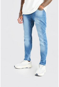 Mid blue blå Skinny Jeans With Light Distressing