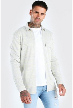 Grey Flannel Zip Through Overshirt