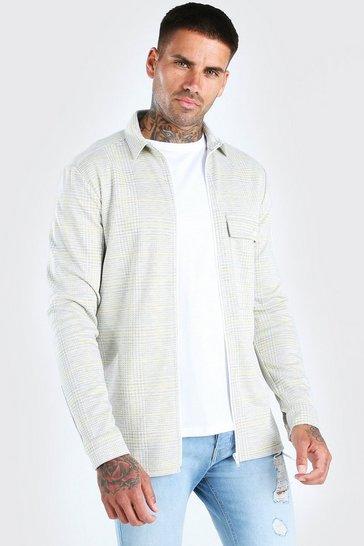 Grey Check Zip Through Overshirt