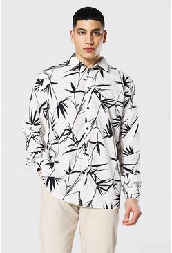 Long Sleeve Palm Print Oversized Shirt, White weiß