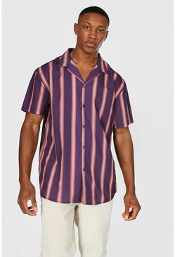 Brown Short Sleeve Revere Stripe Oversized Shirt